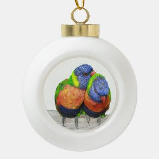 Parakeet Love Birds Ceramic Ball Christmas Ornament