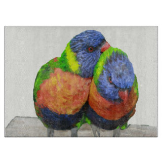 Parakeet Love Birds Cutting Board