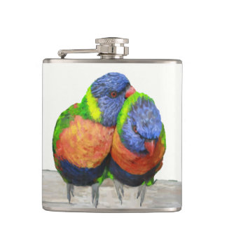 Parakeet Love Birds Hip Flask