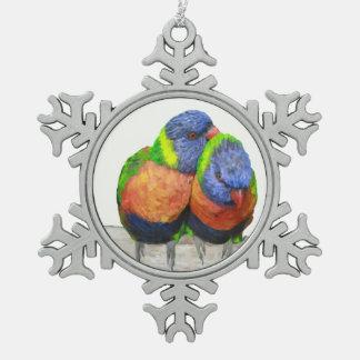 Parakeet Love Birds Snowflake Pewter Christmas Ornament