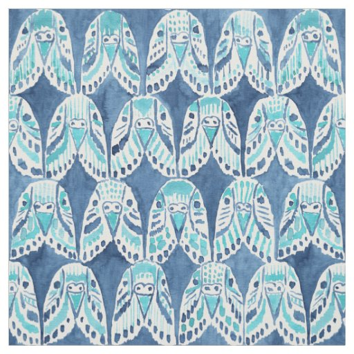 PARAKEET ON REPEAT Blue Boho Budgie Pattern Fabric