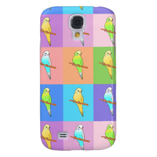 Parakeet Rainbow Rectangles Galaxy S4 Case