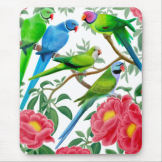 Parakeets and Peonies Mousepad