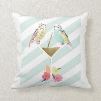 Parakeets & Cocktail Throw Cushion