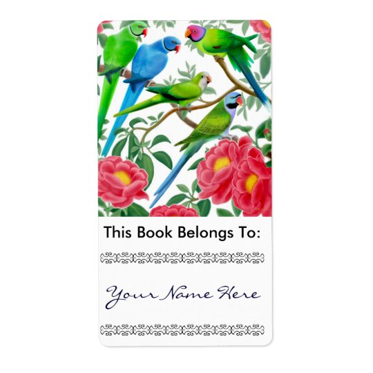 Parakeets in Peonies Bookplate Shipping Label