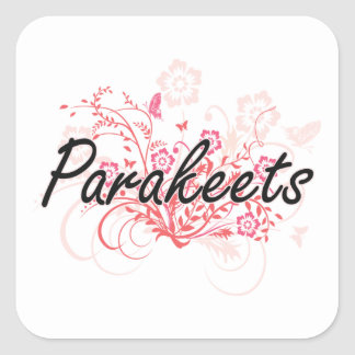 Parakeets with flowers background square sticker