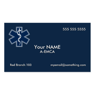 Paramedic EMT EMS Dark Pack Of Standard Business Cards