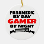 Paramedic Gamer Double-Sided Ceramic Round Christmas Ornament