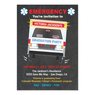 Paramedic or EMT Graduation Party Invitation