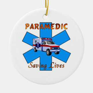 Paramedic Saving Lives Round Ceramic Decoration
