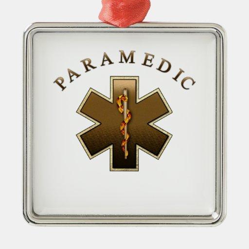 Paramedic Silver-Colored Square Decoration
