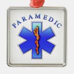 paramedic square metal christmas ornament