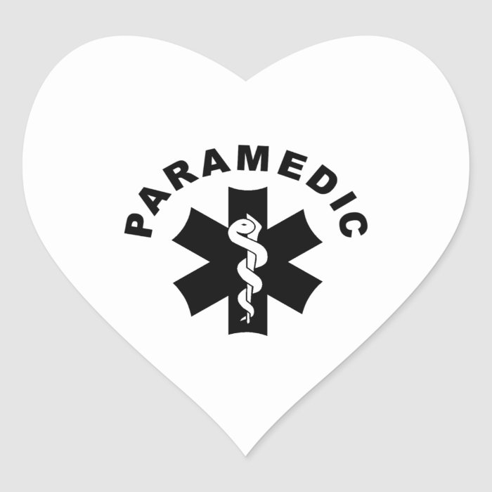 Paramedic Theme Heart Sticker