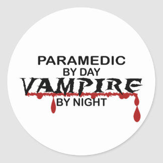 Paramedic Vampire by Night Round Sticker