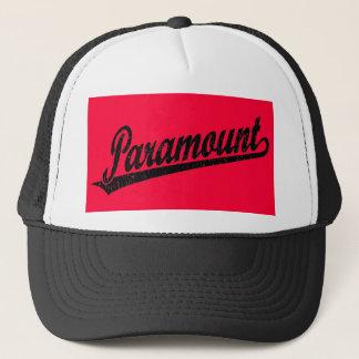 Paramount script logo in black distressed trucker hat