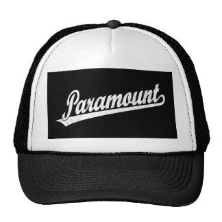 Paramount script logo in white distressed cap