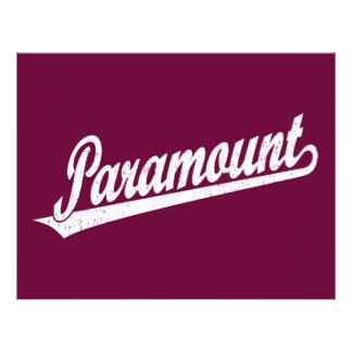 Paramount script logo in white distressed flyer