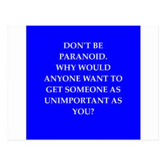 paranoia joke postcard