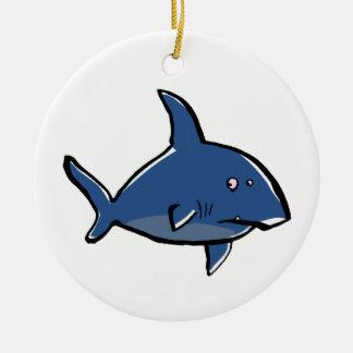 paranoid shark round ceramic decoration