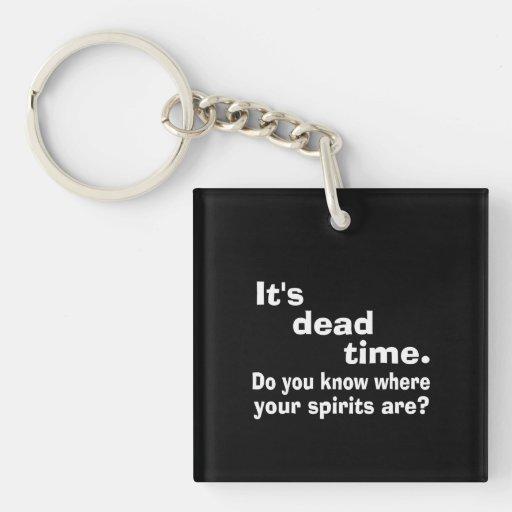 Paranormal Dead Time Public Service Announcement Square Acrylic Keychain