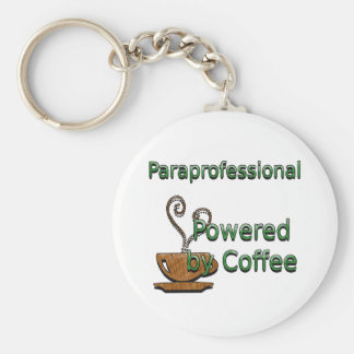 Paraprofessional Powered by Coffee Basic Round Button Key Ring