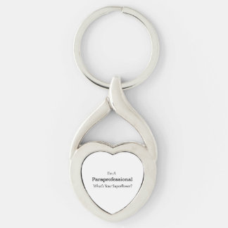 Paraprofessional Silver-Colored Twisted Heart Key Ring