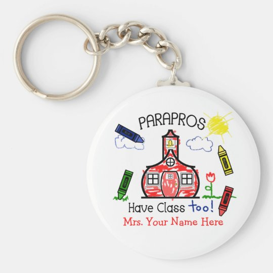 Parapros Have Class Too! Crayons & Schoolhouse Basic Round Button Key Ring