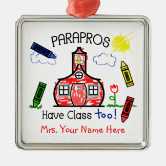 Parapros Have Class Too Schoolhouse Crayon Drawing Christmas Ornament