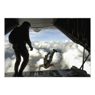 Pararescuemen jump out the back of a C-130 Photo Print