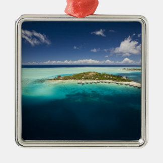 Parasailing over the beautiful lagoon of Bora 3 Silver-Colored Square Decoration