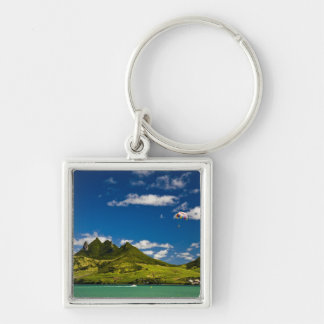 Parasailing within View of impressive Lion Silver-Colored Square Key Ring