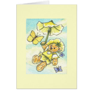 Parasol Teddy Blank Note Card