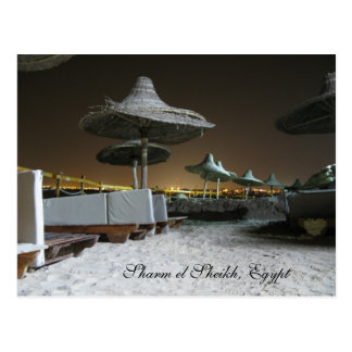 Parasols at Night in Sharm el Sheikh, Egypt Postcard