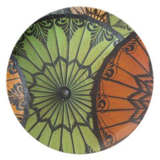 parasols for sale, bagan, myanmar plate