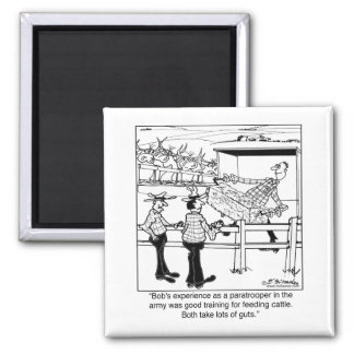 Paratrooper as Cattle Hand Square Magnet