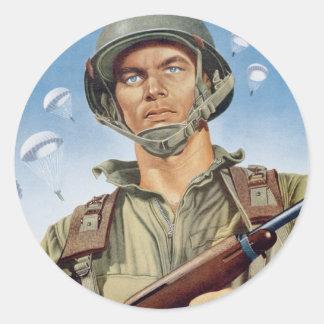 paratrooper round sticker