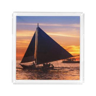 Paraw Sailing At Sunset |Phillipines Acrylic Tray