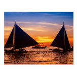 Paraw Sailing At Sunset  Phillipines Postcard