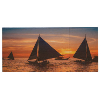 Paraw Sailing At Sunset |Phillipines Wood USB Flash Drive