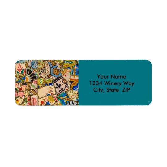 Parc Guell Ceramic Tile in Barcelona Spain Return Address Label