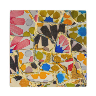 Parc Guell Ceramic Tiles in Barcelona Spain Wood Coaster