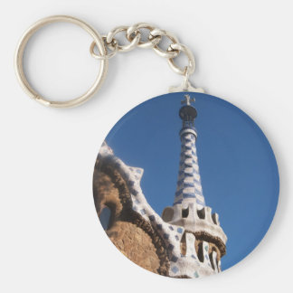 Parc Guell Gingerbread House Basic Round Button Key Ring