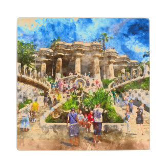 Parc Guell in Barcelona Spain Wood Coaster