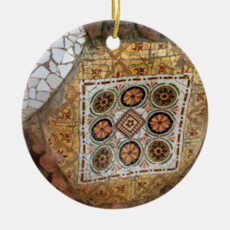 Parc Guell Mosaic Green and Orange Christmas Ornament