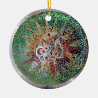 Parc Guell Mosaic Green and Rainbow Christmas Ornament