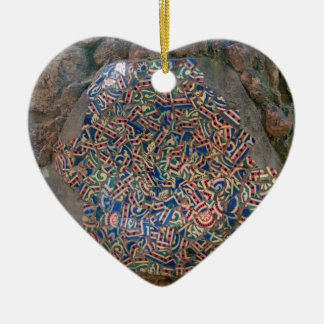 Parc Guell Mosaic Rainbow and Orange Heart Christmas Ornament
