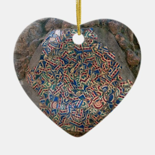 Parc Guell Mosaic Rainbow and Orange Heart Christmas