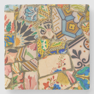 Parc Guell Tiles in Barcelona Spain Stone Coaster