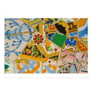 Parc Guell Yellow Ceramic Tiles in Barcelona Spain Postcard