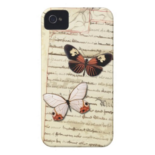 Parchment and butterflies collage iPhone 4 case